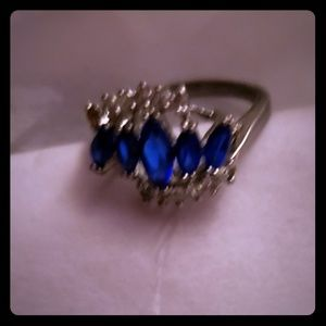 Blue topaz and CZ fashion ring size 8